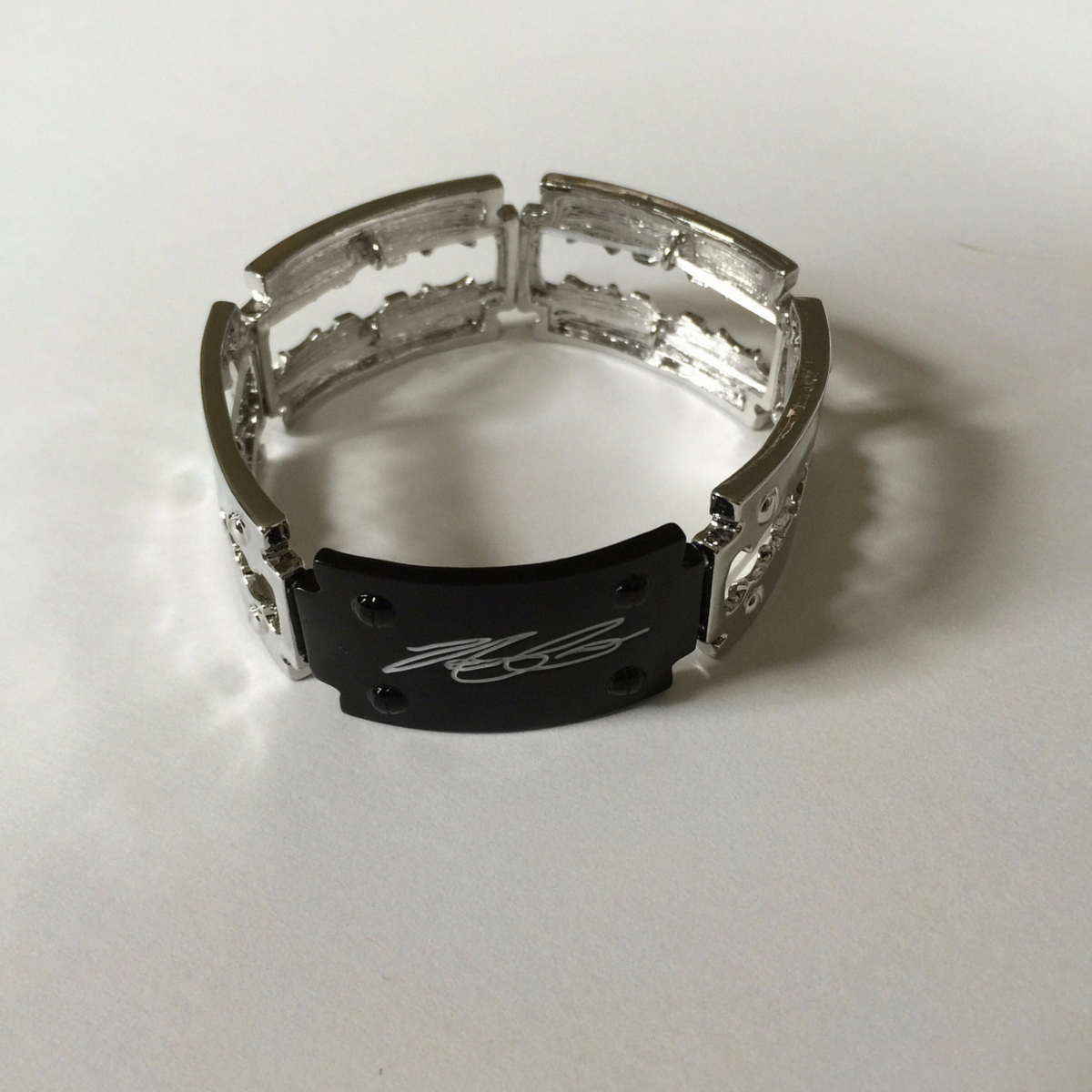 Silver Signature Black Background Bracelet - The Amit Corso Collection
